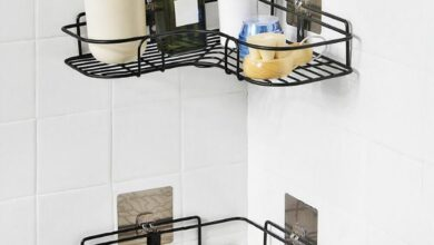 ($15 OFF Each Today) Drill Free Shower Caddy For Corners - Black