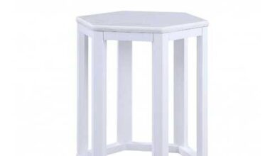 "16"" X 18"" X 20"" White Marble Wood 2Pc Pk End Table"