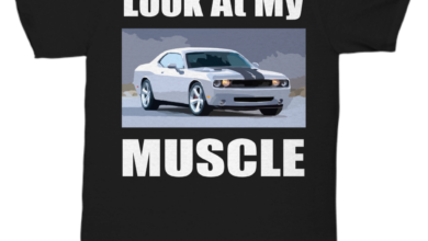 Look At My MUSCLE, Dodge Challenger muscle car - Fun T-shirt for your Car Guy or Girl dark colors - Unisex Tee / Kelly / xlg