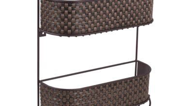 Home Basics Wall Mount Basket Weave 2 Tier Letter Rack Organizer, Bronze - Default Title