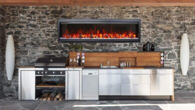 SYM-50 Bespoke 50 Electric Fireplace - Amantii - Clean face built-in with log and glass, black steel surround - Default Title