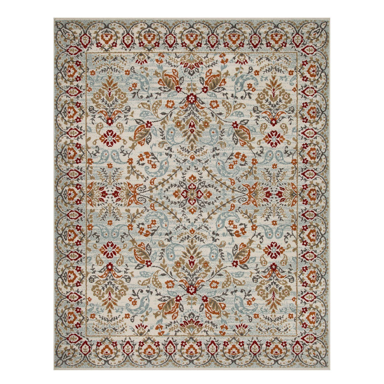 Indoor Home Area Rug Collection Floral and Vine Design, by Superior - Blue / 8 ft. x 10 ft.