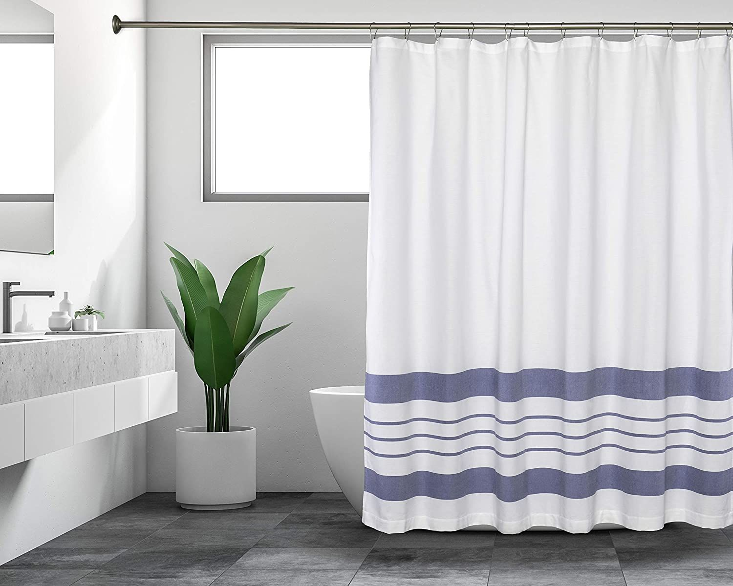 Sticky Toffee Woven Cotton Fabric Shower Curtain, 72 x 72, White with Thick Stripes - Blue Thick Stripes