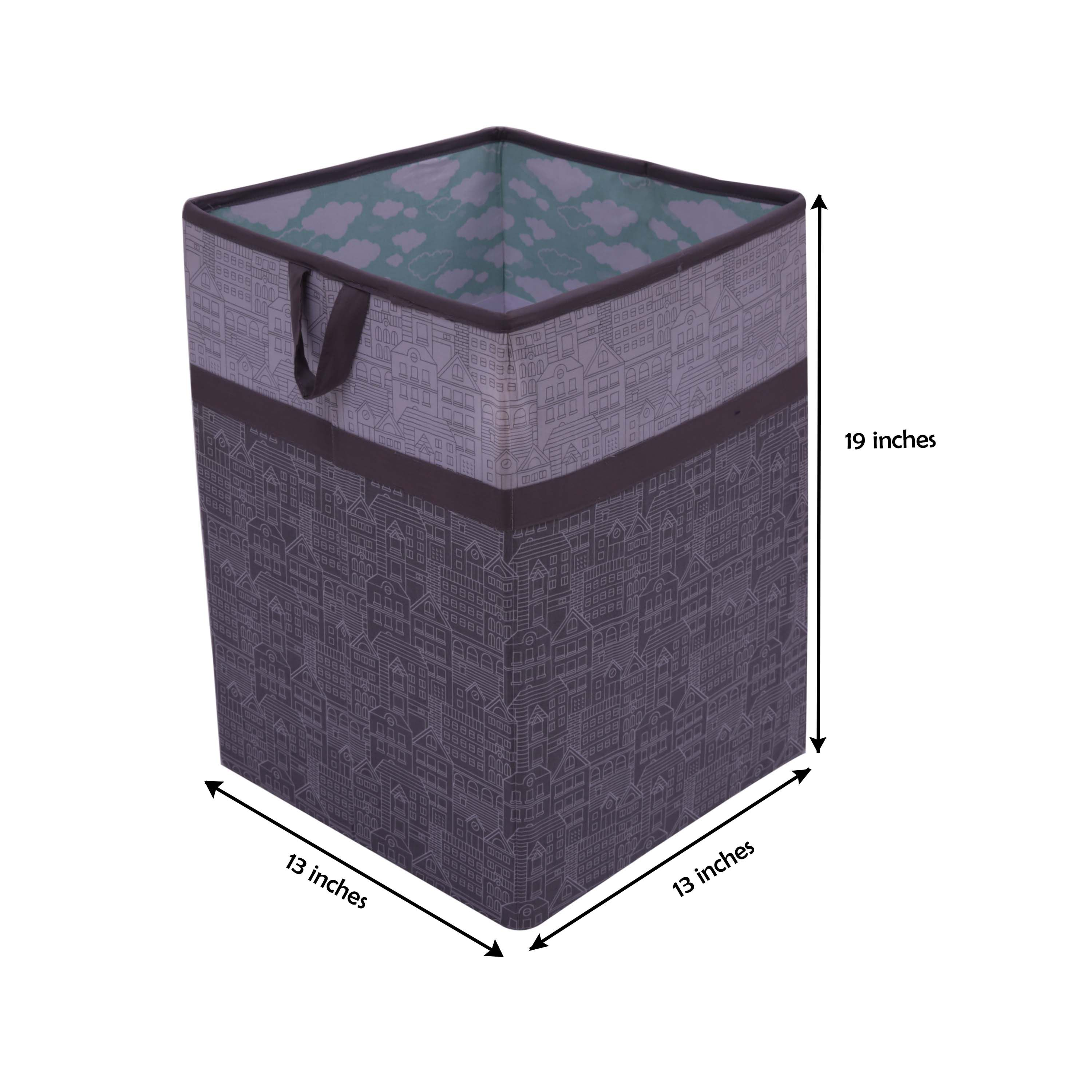 Bacati - Clouds in the City Neutral Nursery Kids Storage Items, Mint/Grey - Collapsible Laundry Hamper