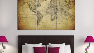 Large Wall Art Vintage World Map Canvas Print Set For Home and Office Design Large Wall Art - Each Panel: 10X20""