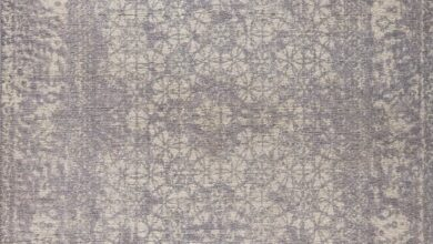 Modern Geometric Medallion Abstract Border Mariam Houston Silver Wool Area Rug Carpet - 4' x 6' / Silver / MAT Mariam Houston Silver