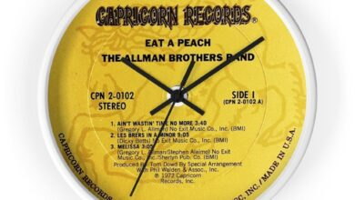 Allman Brothers Bros Band Capricorn Records Eat A Peach 10 Inch Wall Clock - 10 / White / Black