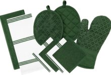 Sticky Toffee Silicone Printed Oven Mitt & Pot Holder, Cotton Terry Kitchen Dish Towel & Dishcloth, 9 Piece Set - Dark Green Silicone Printed
