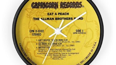 Allman Brothers Bros Band Capricorn Records Eat A Peach 10 Inch Wall Clock - 10 / Black / White