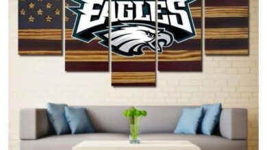 Philadelphia Eagles Wall Art Painting Canvas Poster | Free Shipping - Size 3 - 40 x 80 Inch / Rustic Flag Design