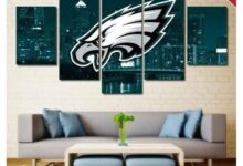 Philadelphia Eagles Wall Art Painting Canvas Poster | Free Shipping - Size 2 - 32 x 60 Inch / Green City Eagles Logo