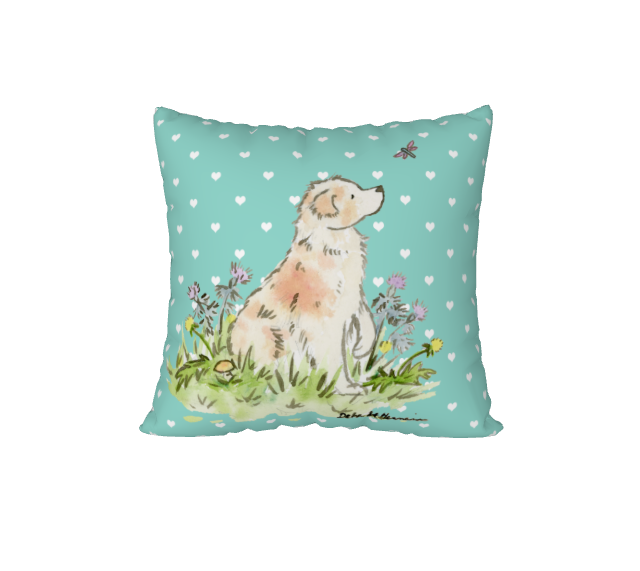 Red Merle Australian Shepherd Square Throw Pillow Cover, Gift for Dog Lovers - 22x22 / turquoise hearts / Velveteen