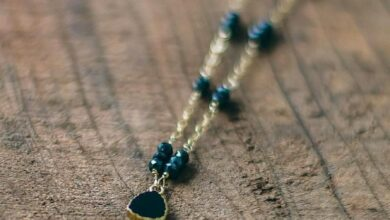 Black Onyx and Spinel Gold Necklace : Ground Yourself - 17