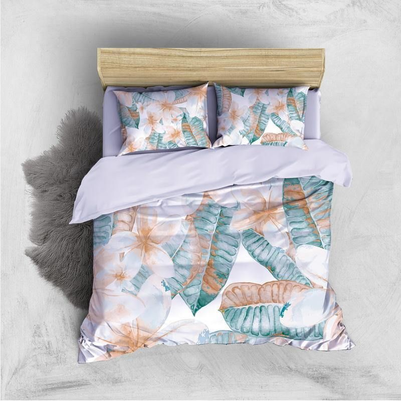 Custom Personalised 3 Pieces Duvet Cover Set - Jasmine Flower Pattern Comforter Cover - Twin
