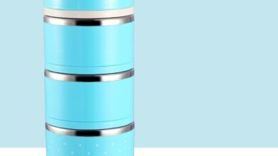 Leak-Proof Stainless Steel Thermal Lunch Boxs Cute Japanese Kitchen Supplies - Blue 3 Layers / United States