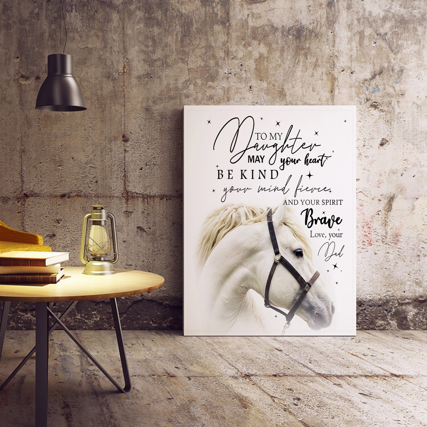 MKTEE Horse Lover To My Daughter May Your Heart Be Kind Canvas Art for Wall Decor Print Painting for Room Decoration - 11x14