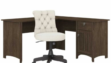 60W L Shaped Desk with Mid Back Tufted Office Chair - Ash Brown / Unique / Various