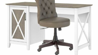 54W Computer Desk with Storage and Mid Back Tufted Office Chair - Shiplap Gray/Pure White / Unique / Various