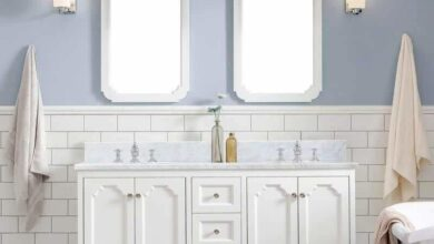 Water Creation Queen 60 In. Double Sink Carrara White Marble Countertop Vanity in Pure White with Waterfall Faucets