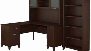 60W L Shaped Desk with Hutch and 5 Shelf Bookcase - Mocha Cherry / Unique / Various