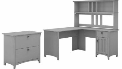 60W L Shaped Desk with Hutch and Lateral File Cabinet - Cape Cod Gray / Unique / Various