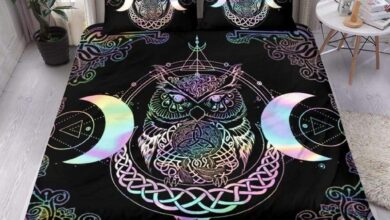 Celtic Wicca Bedding Set - The Owl Moon - BN21 - One Style / AU Queen / BLACK