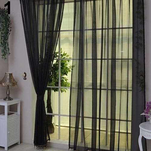 1Pc Home Voile Pure Color Window Curtain Tulle Panel Sheer Scarf Valance Decor - Black