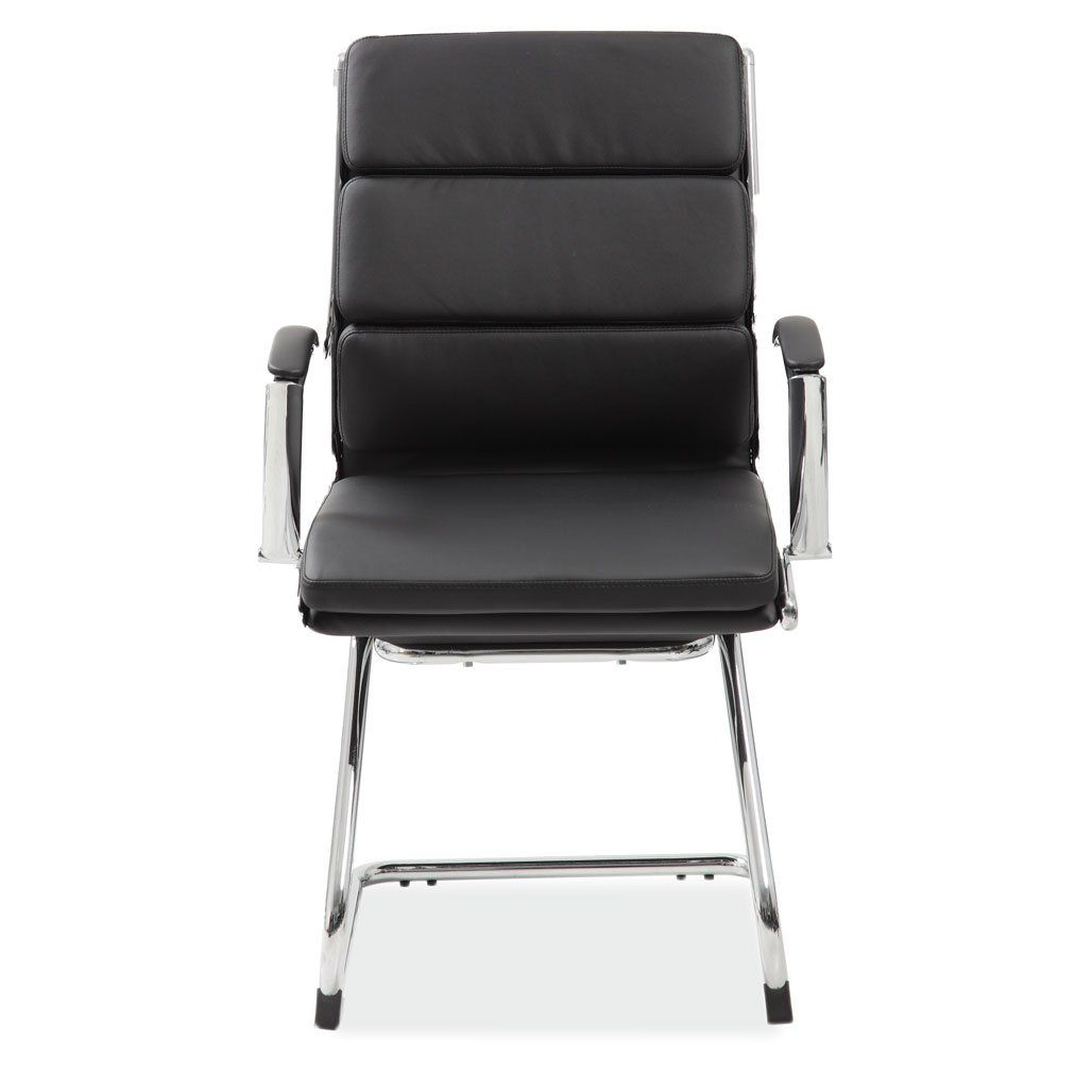 Merak Collection Executive Guest Sled Base with Chrome Frame - Black Leather Soft Vinyl