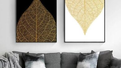 Nordic Canvas Painting Home Wall Decor Wall Art Poster Modern Nordic Print Luxury Gold Abstract Leaves Picture for Living Room - 50x70cm no frame / 2Pcs