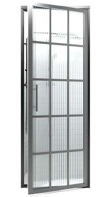 Gridscape GS1 Swing Shower Door in Black with Trench Glass - 26 - 27 x 76 in.