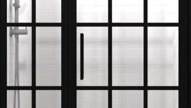 Gridscape GS1 Swing Shower Door and Panel in Black with Clear Glass - 45 - 46.5 in. x 76 in.