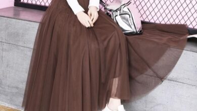 New Autumn Winter Vintage Tulle Skirt Women Elastic High Waist Mesh Skirts Long Pleated Tulle Skirts Party Mesh A-Line Skirt - Brown / 80CM / China