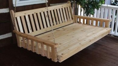 Amish Traditional English Twin Swing Bed 75 - Red Cedar - Walnut Stain / Seat Cushion