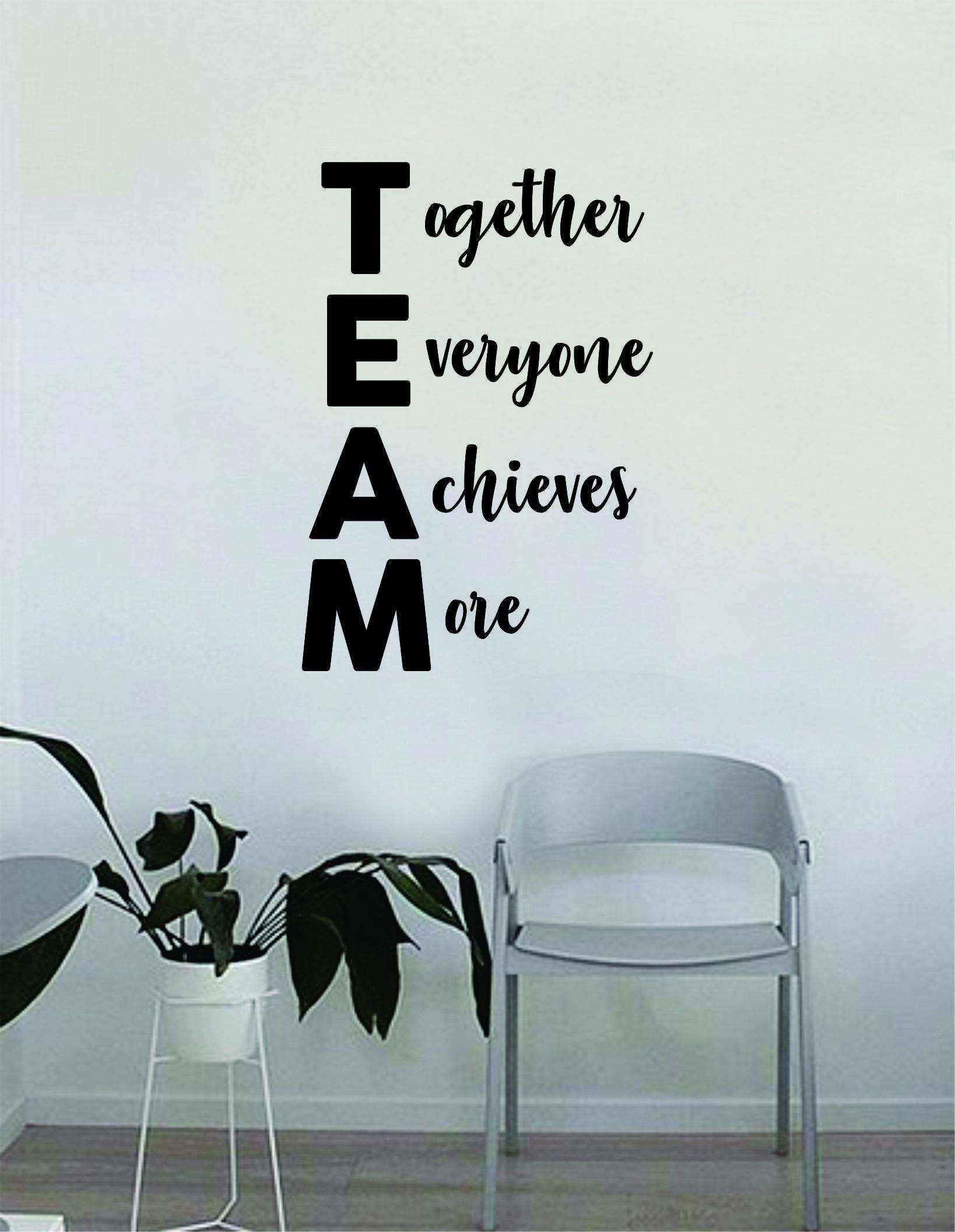 Team Together Everyone Achieves More Quote Decal Sticker Wall Vinyl Art Home Room Decor Teacher School Classroom Science Work Office Job - vivid blue