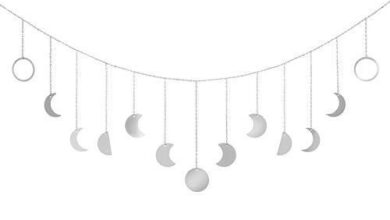 Mkono Moon Phase Wall Hanging Moon Garland Decor Boho Home Decoration Moon Hang Art Ornaments for Bedroom Headboard Living Room Dorm Nursery Apartment Office Mothers Day Gift - Large / Silver