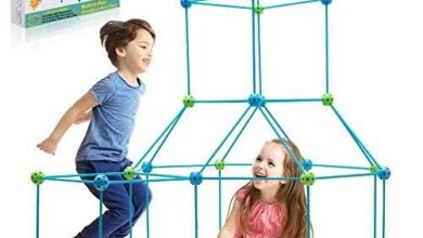 Obuby Kids Construction Fort Building Kit 85/120 Pieces Ultimate Forts Builder Gift Build Making Kits Toys for Boys and Girls to DIY Building Castles Tunnels Play Tent Rocket Tower Indoor & Outdoor - Blue+green / 85 Pieces