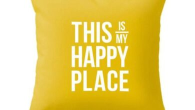 This is my happy place cushion. Gray - only cover 20x20 inches / Yellow