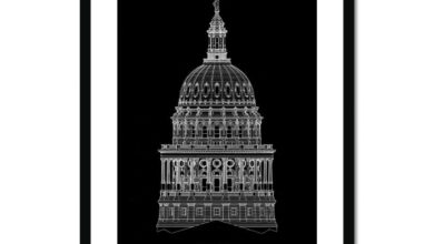 The Texas State Capitol Building - Dome South Elevation Detail - Black -  Framed & Mounted Print - 24x32 / Black Frame