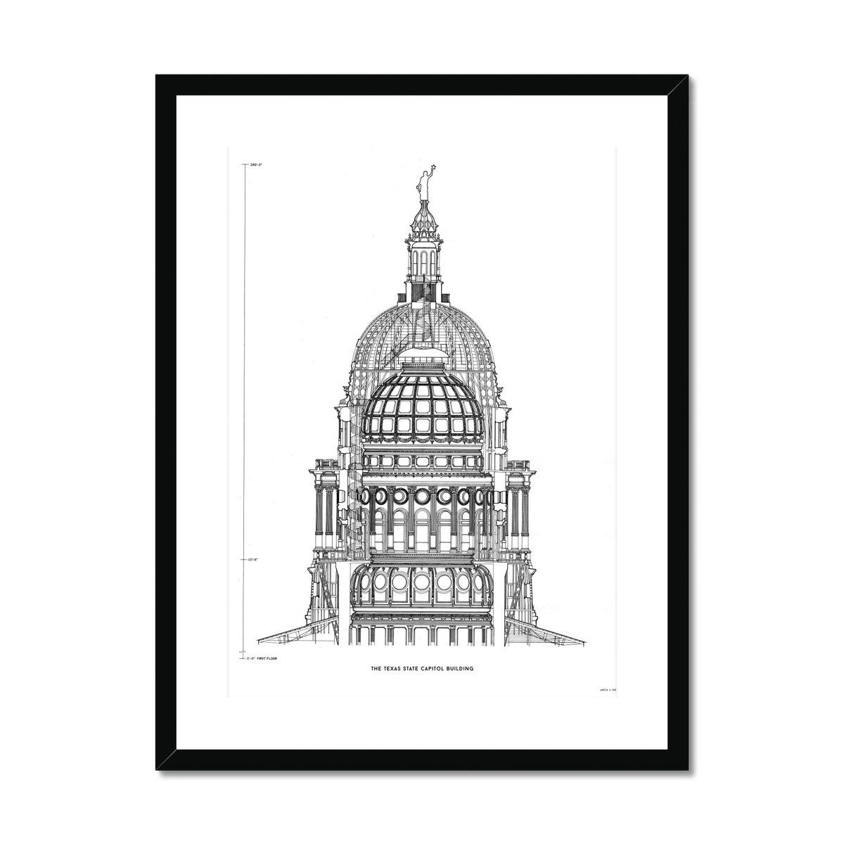 The Texas State Capitol Building - Dome Cross Section - White - Framed & Mounted Print - 12x16 / Black Frame