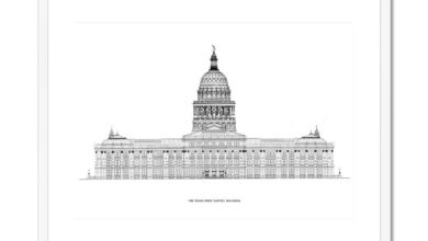 The Texas State Capitol Building - North Elevation - White -  Framed & Mounted Print - 24x18 / White Frame