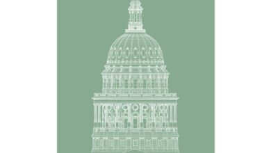 The Texas State Capitol Building - Dome South Elevation Detail - Green - German Etching Print - 12x16