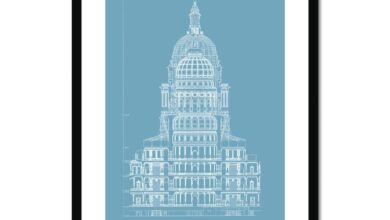 The Texas State Capitol Building - Rotunda Cross Section - Blue -  Framed & Mounted Print - 12x16 / Black Frame