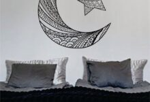 Moon and Star Version 2 Design Outer Space Decal Sticker Wall Vinyl Art Home Room Decor - yellow