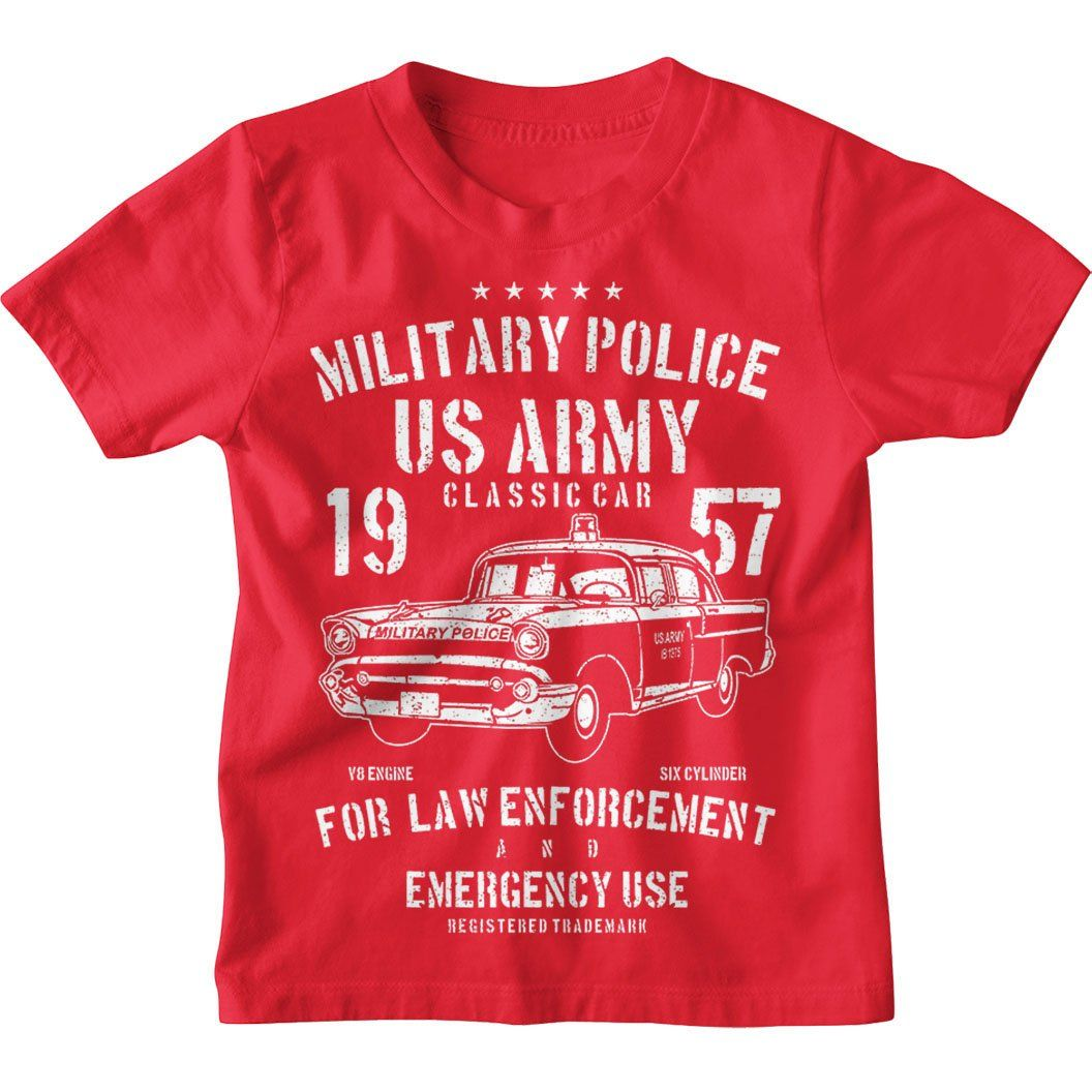 US Army Military Police Kids Unisex T-Shirt - Age 5-6 / Red / Kids T-Shirt