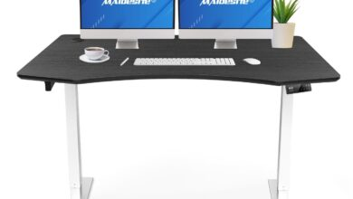 Maidesite Executive Series 55 inch Height Adjustable Standing Desk With Curved Desktop - Black+White