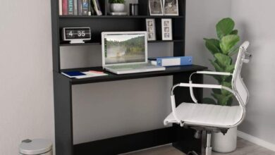 Desk with Shelves Chipboard Writing Table Workstation Multi Colors - Black