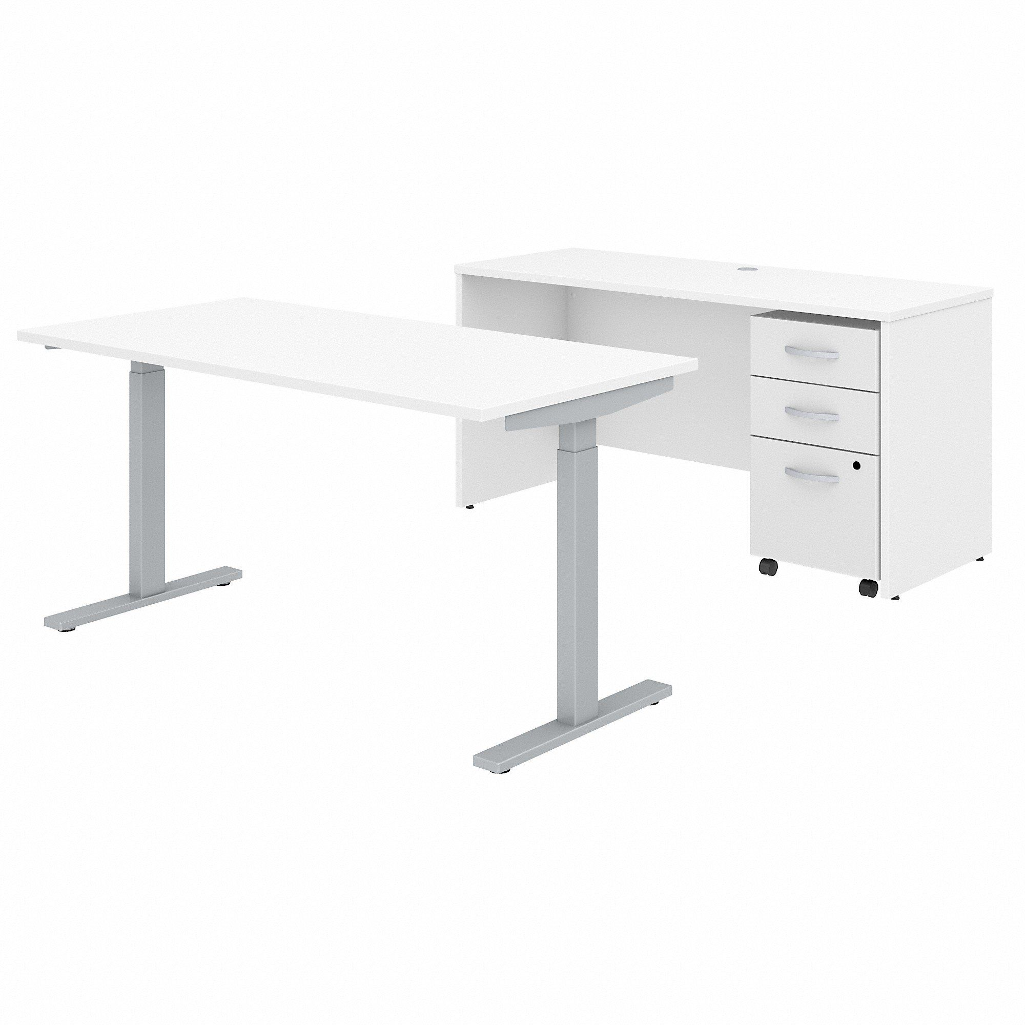 Bush Business Furniture Studio C 60W x 30D Height Adjustable Standing Desk, Credenza and Mobile File Cabinet in White
