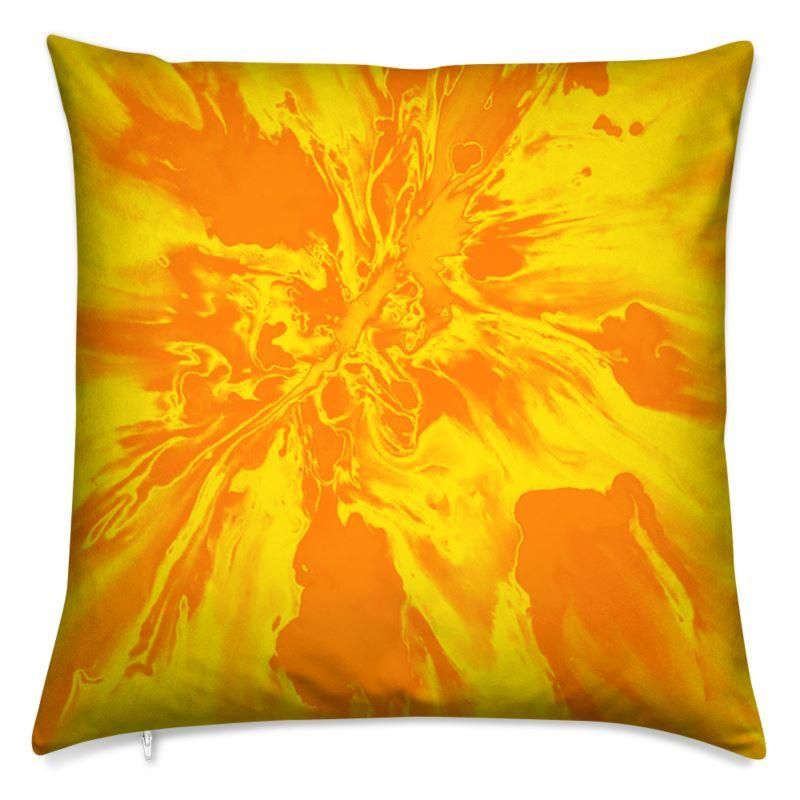 Cushion, Yellow & Orange Angry Sky Psychedelic Collection - Square 40cm (16) / Poly Fibre