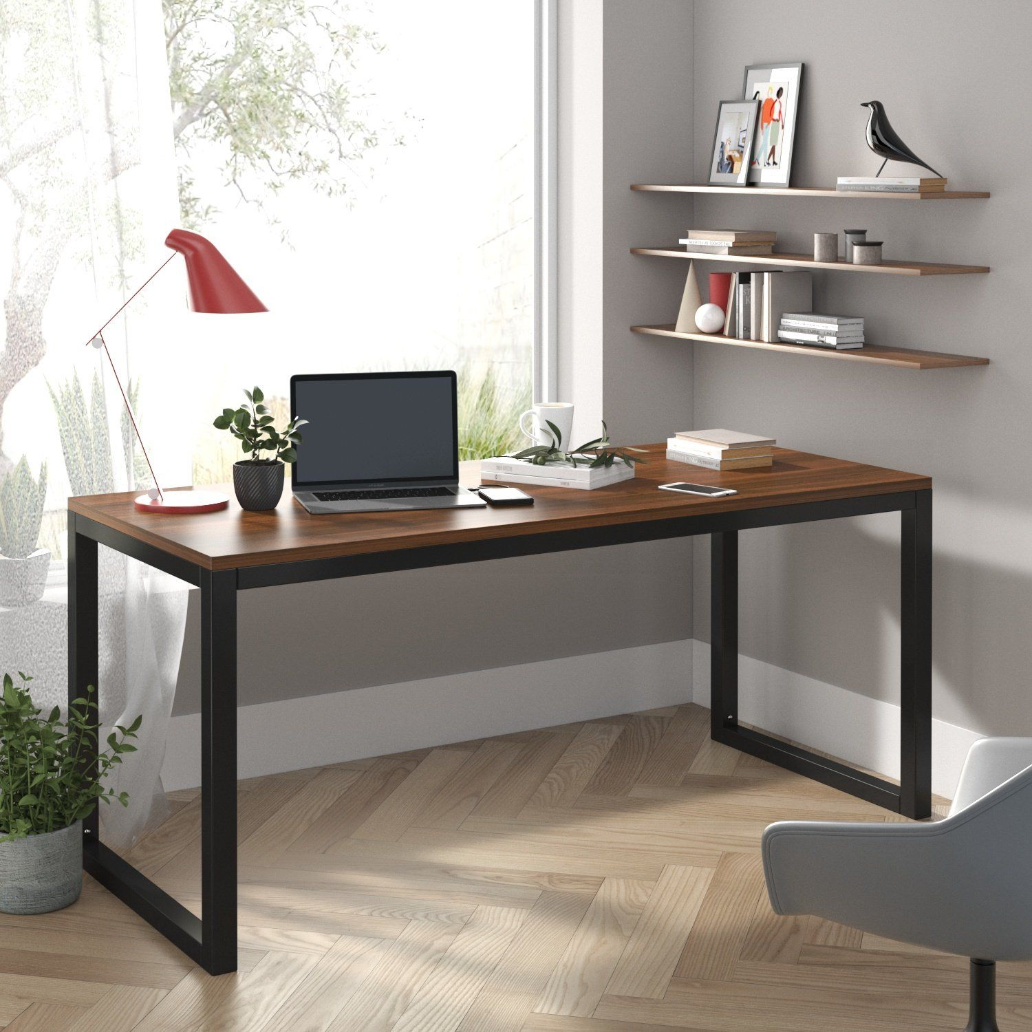 Computer Desk, Modern Writing Gaming Desk for Home Office, Small Wood Table Top Workstation, Rustic Simple Industrial Design - 45'' / Brown & Black