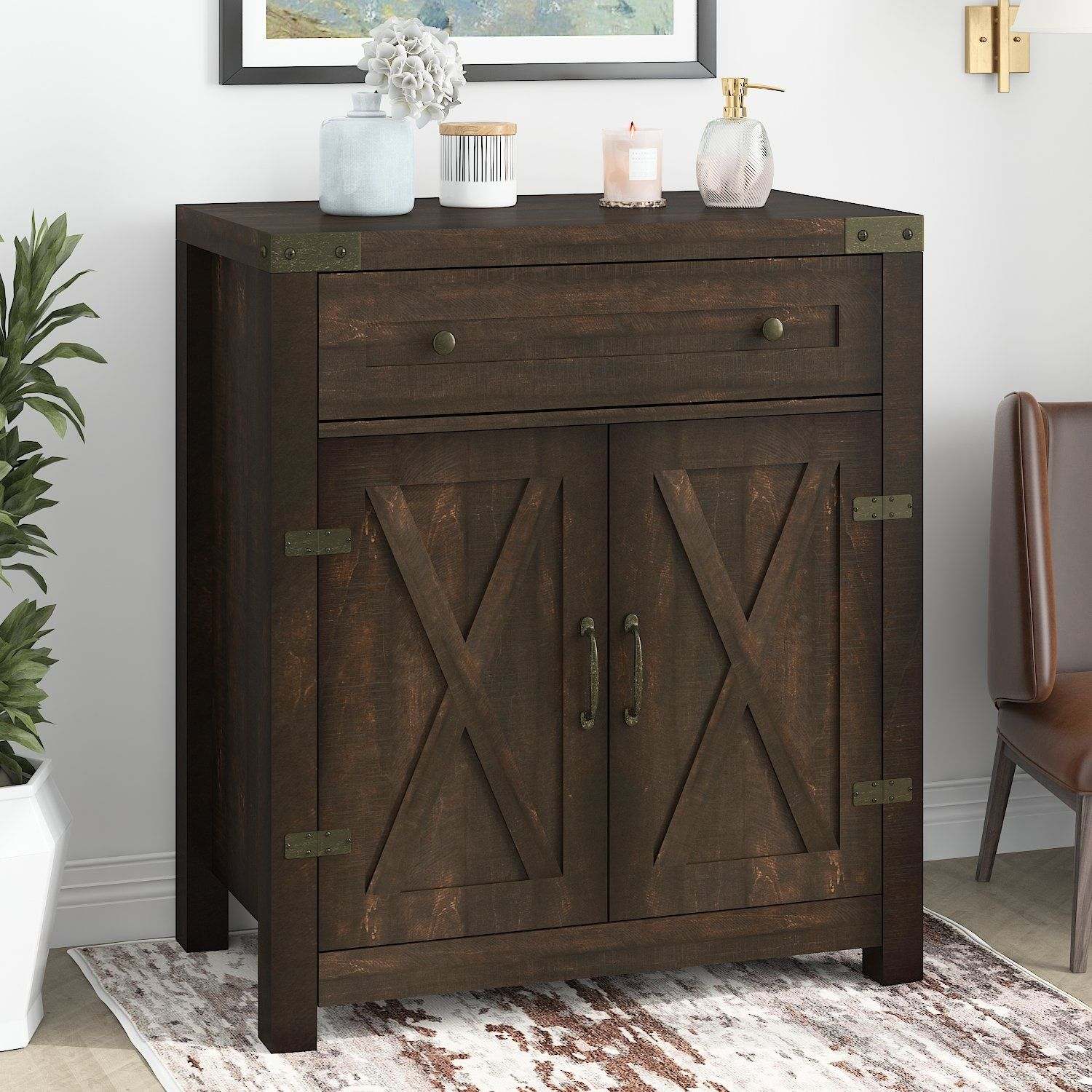 Accent/ Farmhouse Storage Cabinet with Double Doors, Buffet Cabinet, Sideboard with Drawer and 2-Tier Shelves - 32'' / Espresso